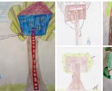 Baumhaus, Zeichnungen von Kindern, Baumhaushotel