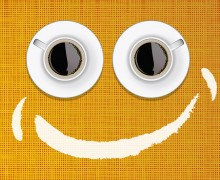 Aufwachen, mit smiley Kaffeetassen, humaner Wecker